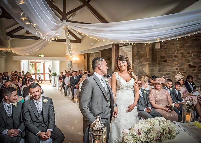 Bride meets groom Stirk House Hotel