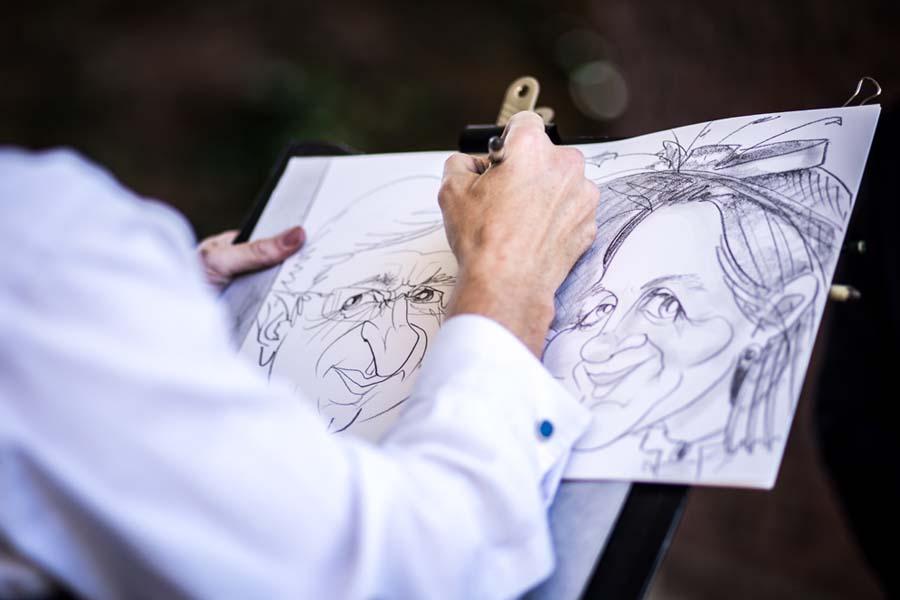 sketch artist at wedding reception