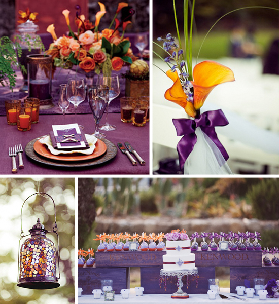 Wedding Orange Purple Black