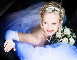 The bride and grooms attire.