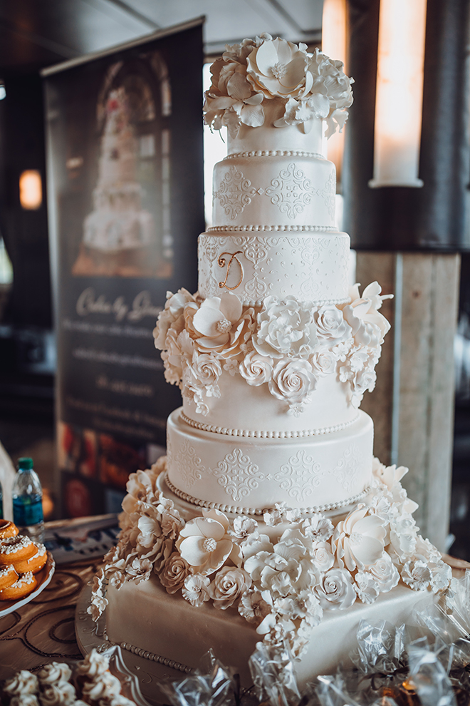 Unique Wedding Cakes From Cakes By Gina   Houston Wedding Blog White Layered Wedding Cake with floral detailing
