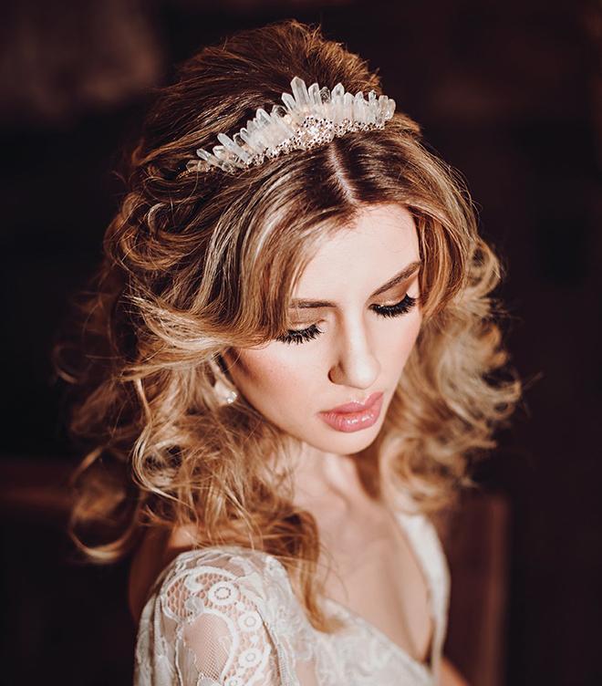 bridal hair makeup beauty houston stylist crystal bridal tiara headpiece accessory long loose curls bridal