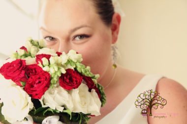 red & white bridal bouquet