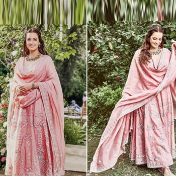 Dia Mirza's blush pink anarkali is perfect for post-wedding ceremonies