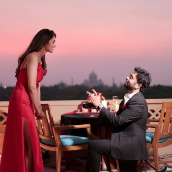 From a helicopter ride around the Taj Mahal to staying in the suite that hosted Jeff Bezos, a wedding proposal truly one to behold!