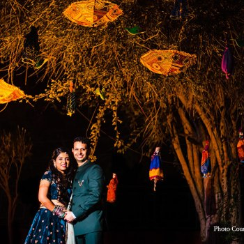 This nature-loving couple's wedding outfits featured eco-friendly hashtags!