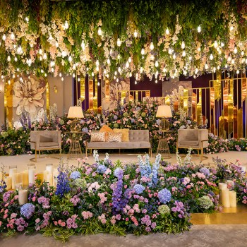 Replete with candles, chandeliers and blooms, this engagement decor by The A-Cube Project looked straight out of a dream