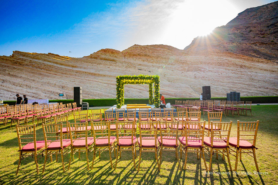 Outdoor Wedding Mandap against Oman's brown mountains