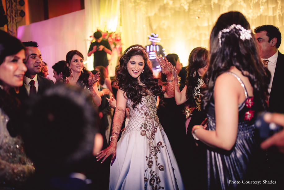 Menaka looking like the belle of the ball in her Monisha Jaising gown