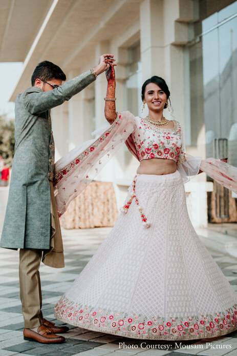 pink lehenga with flowers embroidered