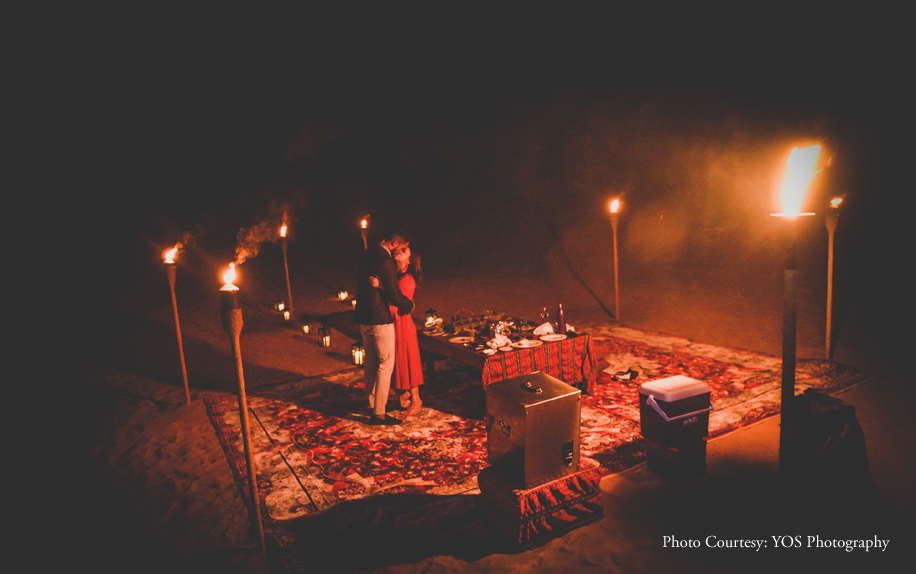 Starry skies and Dubai's desert landscapes added to the drama of this surprise proposal
