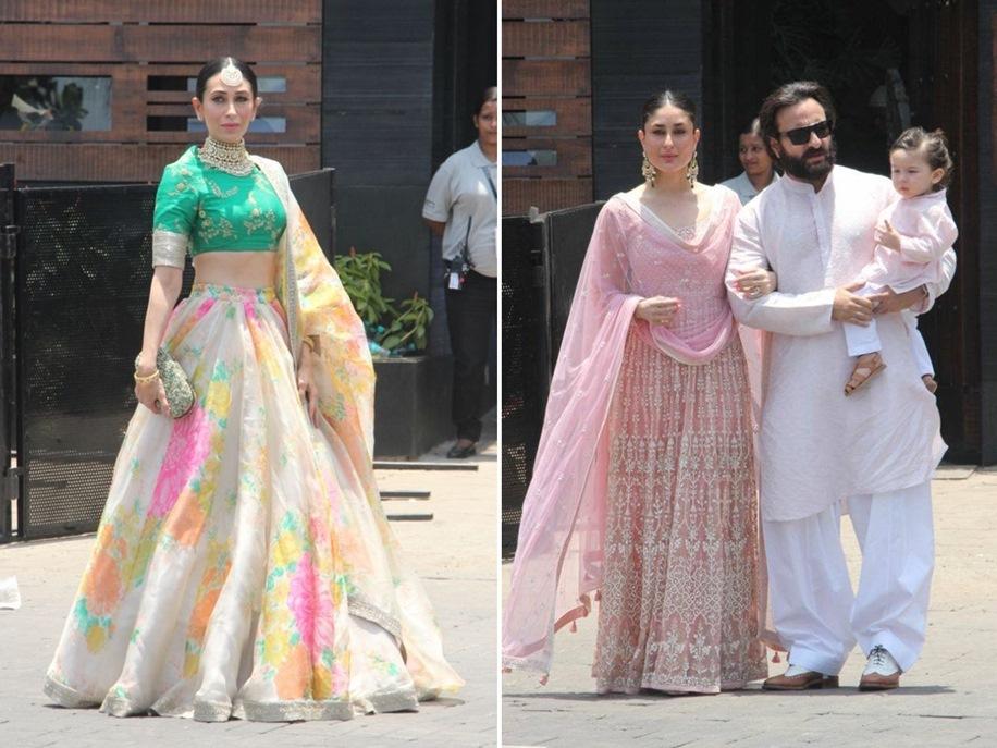 Karisma Kapoor, Kareena Kapoor, Saif Ali Khan and Taimur Ali Khan at Sonam Kapoor's Wedding