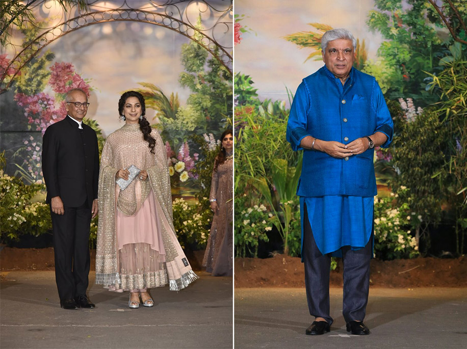 Juhi Chawla and Javed Akhtar at Sonam Kapoor's Reception