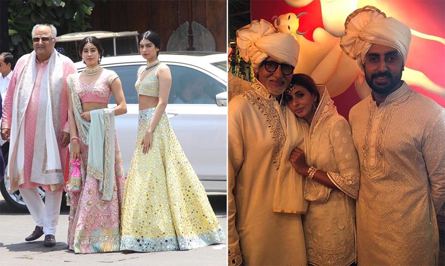 Boney Kapoor, Janhvi Kapoor, Khushi Kapoor, Amitabh Bachchan, Shweta Nanda, Abhishek Bachchan at Sonam Kapoor's Wedding