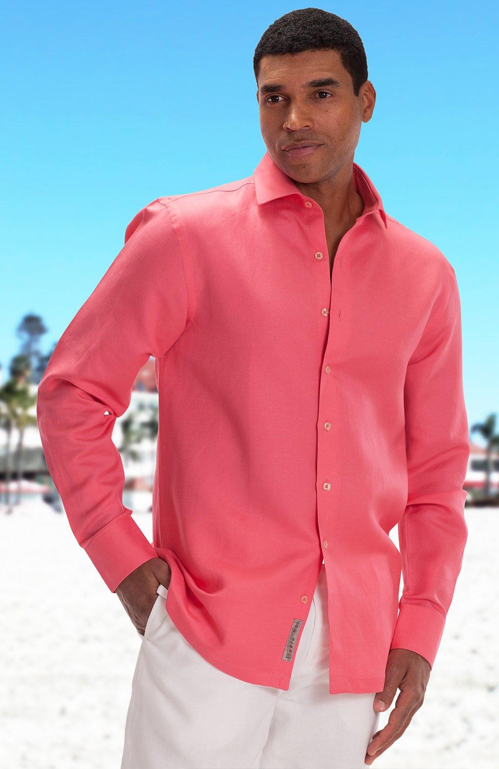 Mens Coral Dress Colored Shirts