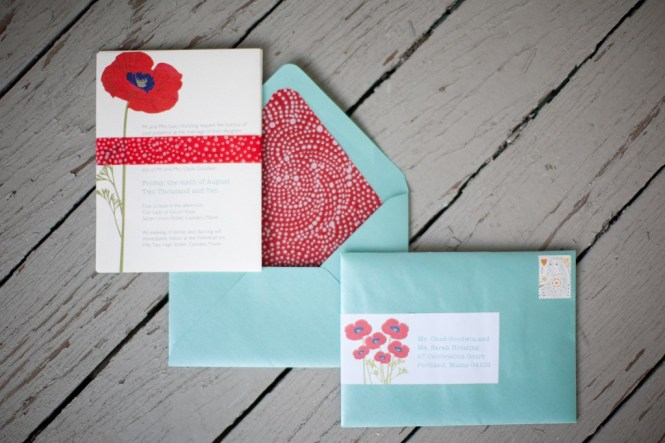 Red Poppy Wedding Invitation Handpainted With Watercolors