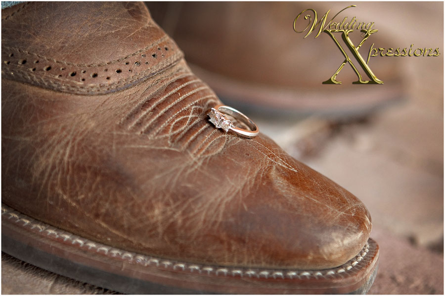wedding engagement ring on cowboy boot