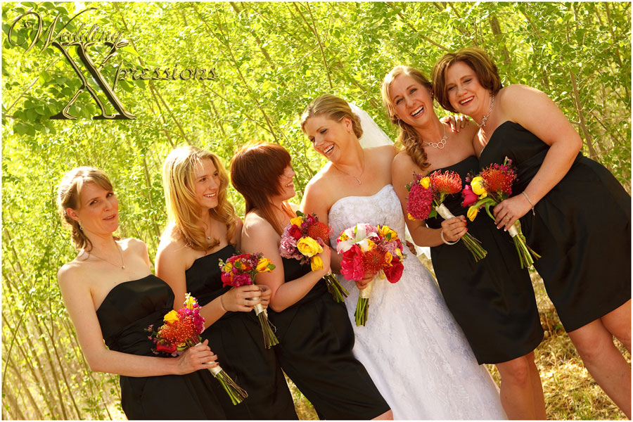 bridal couple bridesmaides