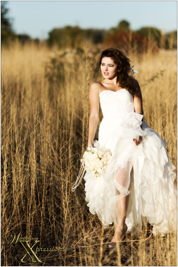 model with with wedding dress and pearl bridal bouquet