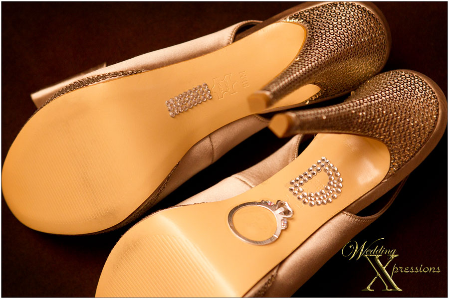 gold wedding shoes with I Do
