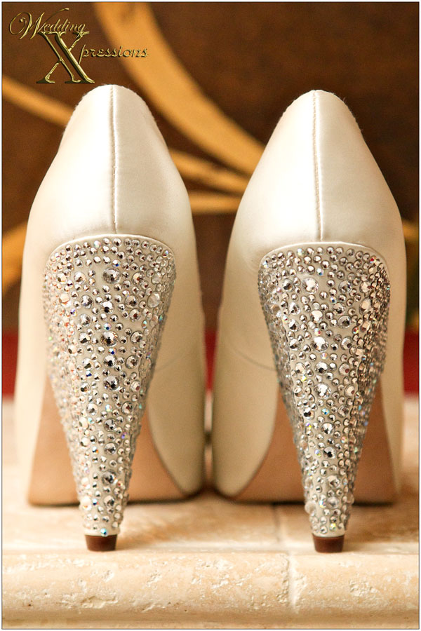 white wedding bridal shoes with crystals