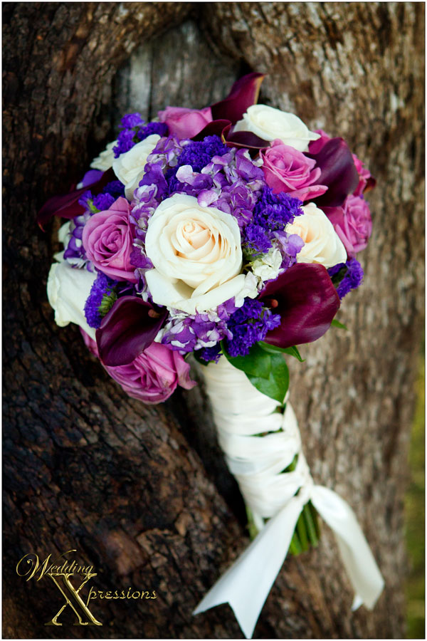 pink purple and white bridal bouquet