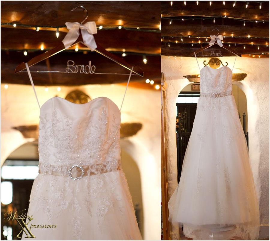 wedding dress on custom hanger