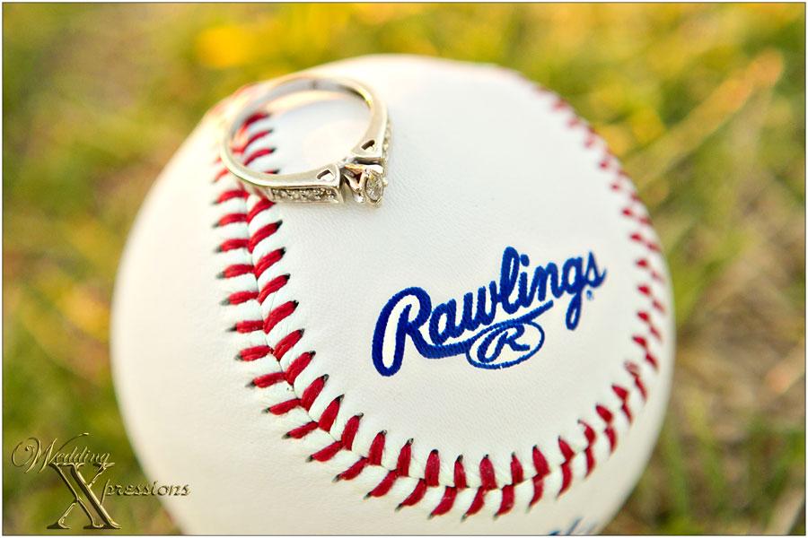 engagement ring on baseball