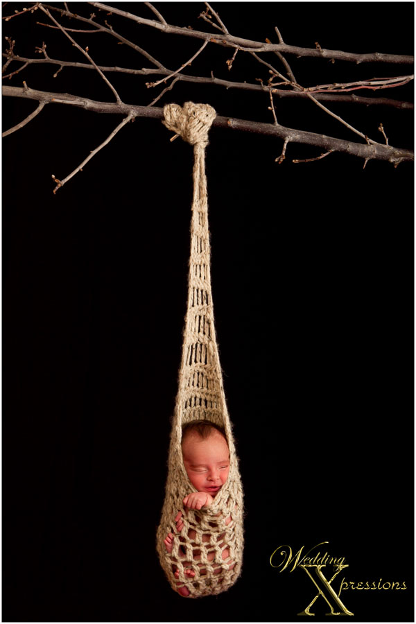baby hanging on tree
