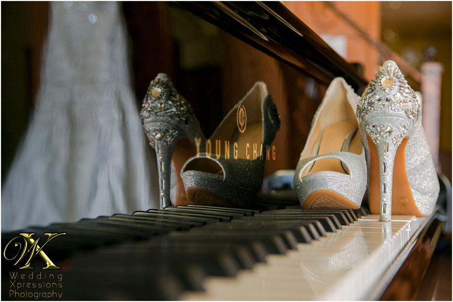 Bride's shoes on piano