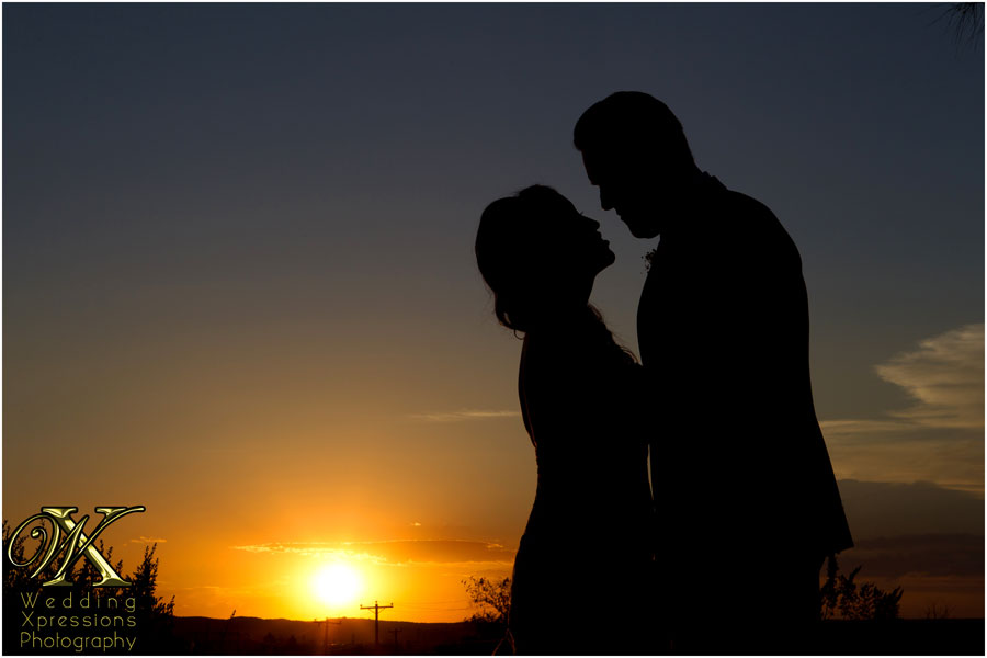 wedding sunset silhouette
