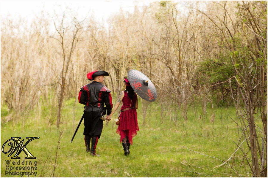 renaissance walking away with umbrella