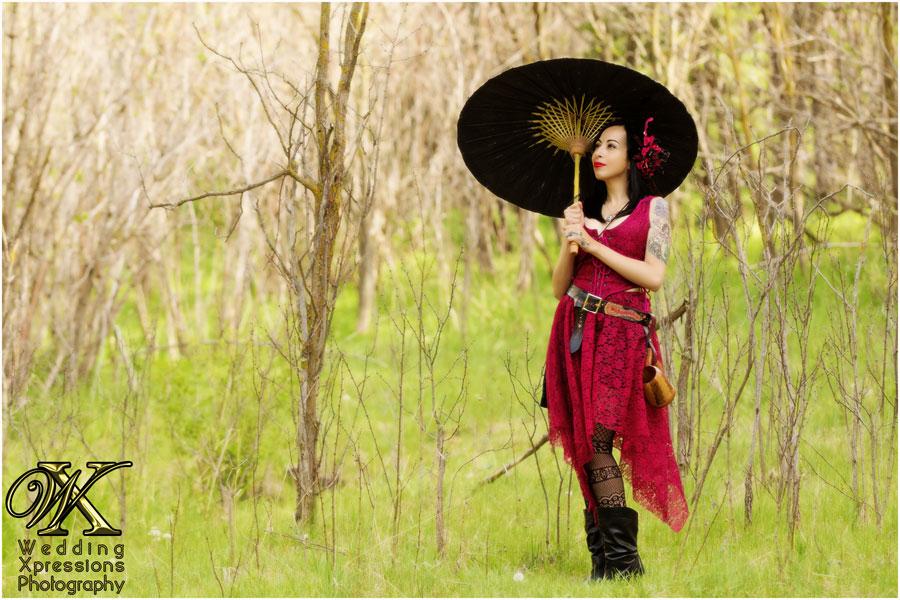renaissance themed woman with umbrella