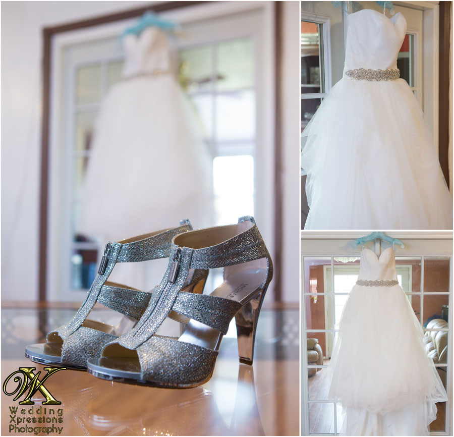 silver shoes and wedding dress