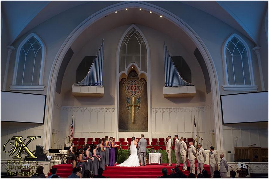 wedding church ceremony at First Baptist Church in El Paso