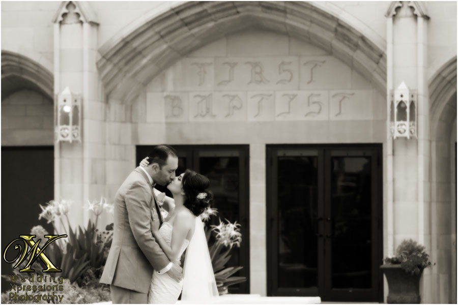 bride and groom outside First Baptist Church