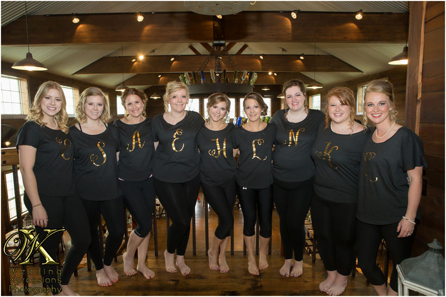 bridesmaids with matching shirts
