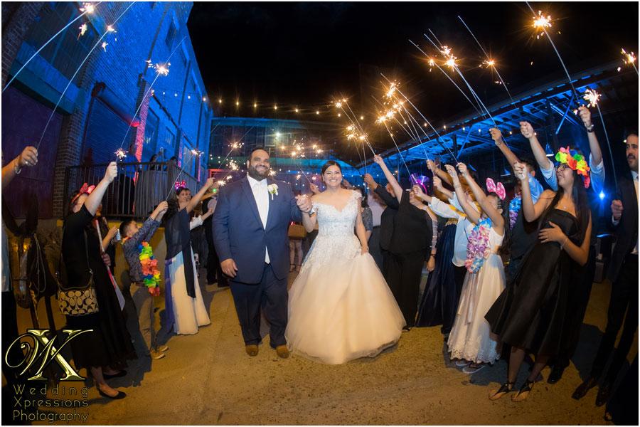 sparkler sendoff at Epic Railyard wedding