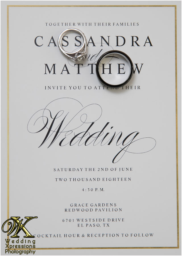 rings on wedding invitation
