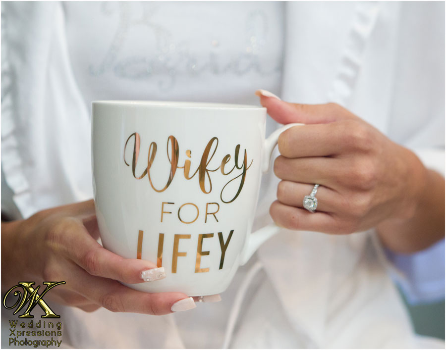 bride with coffee cup Wifey for Lifey