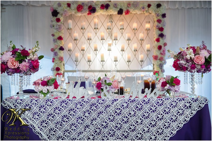 wedding couple's main table at Grace Gardens.