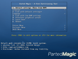 Parted-Magic-startscherm