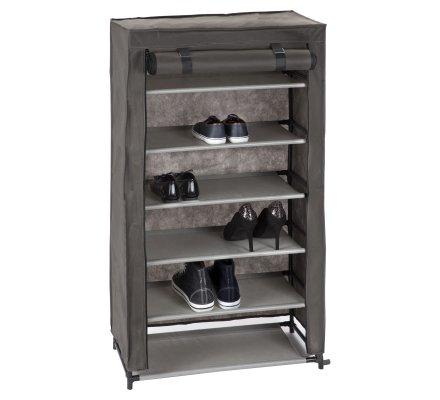 armoire rangement pour chaussures 6 niveaux en intisse gris 61x30x107cm