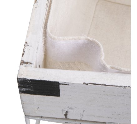 lot de 3 paniers avec une corbeille a linge en metal et bois blanc style industriel panier tissu amovible