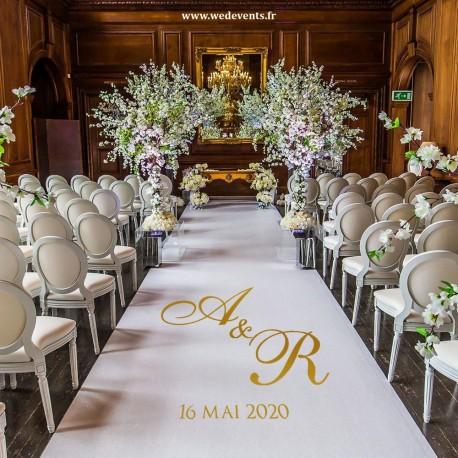 tapis de ceremonie personnalise pour votre deco de salle de mariage