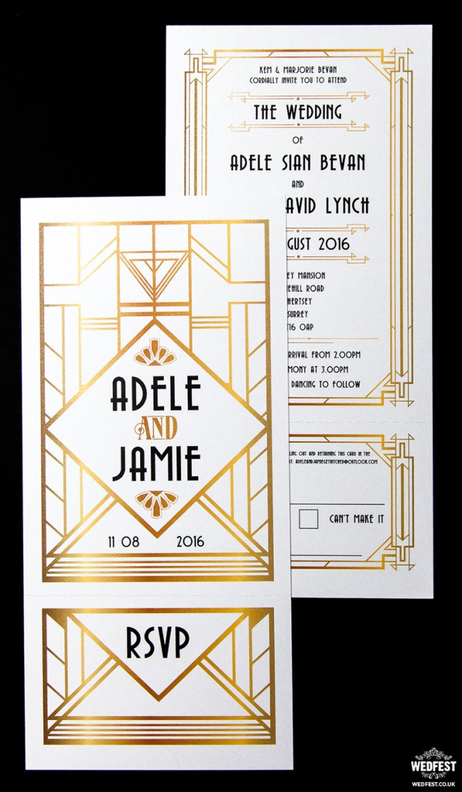 Vintage Deco Black Gold Wedding Invitation By Envelopmentswedding