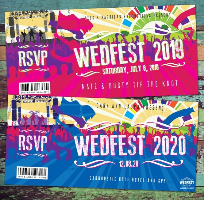 Wedding Invitations Wedfest Festival Themed