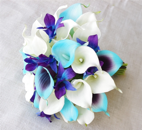 Floramatique Natural Touch Tiffany Purple Calla Lilies Bouquet Alternative Views