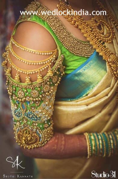 maggam work designs on pattu blouses