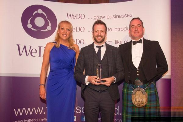 Brian Hay Smith of Mazars (RHS) with Andrew Dobbie of MadeBrave, Entrepreneur of the Year winner 2015 & WeDO Scotland Founder Belinda Roberts